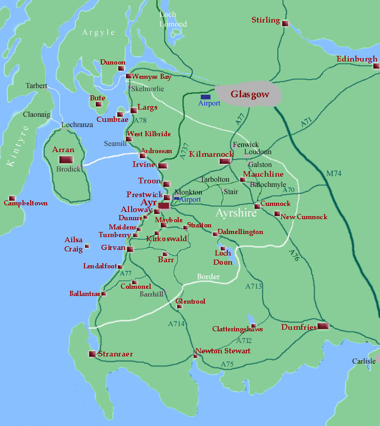 Map Of Ayrshire Ayrshire Map click on Towns