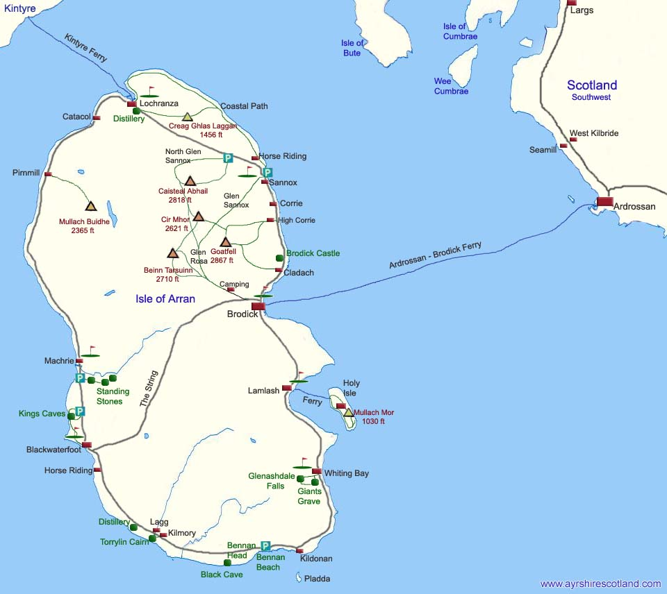 Map Of Arran Arran Map click on Towns & Attractions